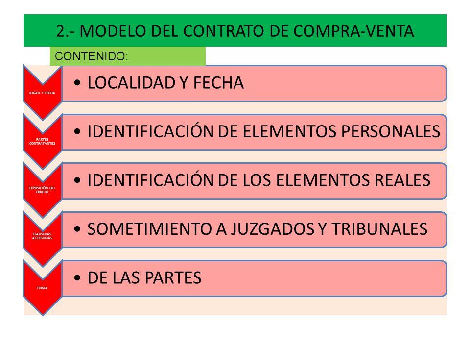 2.- MODELO DEL CONTRATO DE COMPRA-VENTA