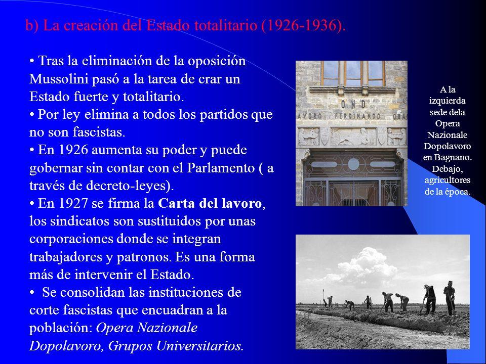 b) La creación del Estado totalitario (1926-1936).