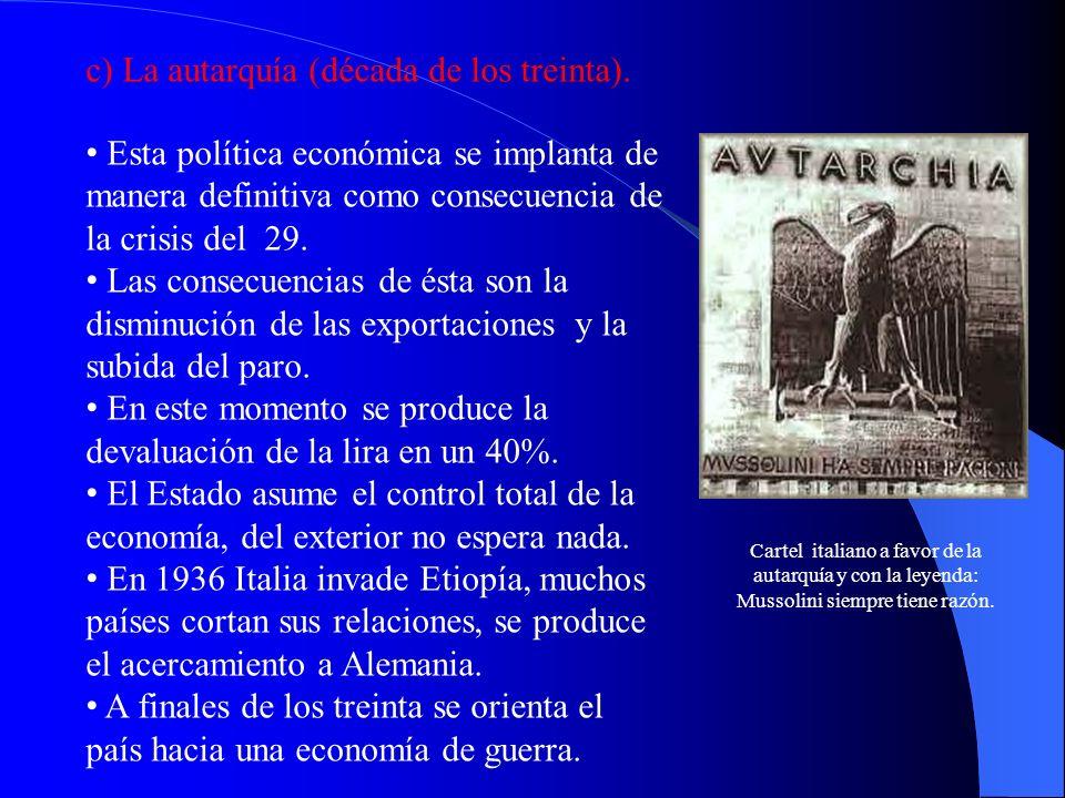 c) La autarquía (década de los treinta).