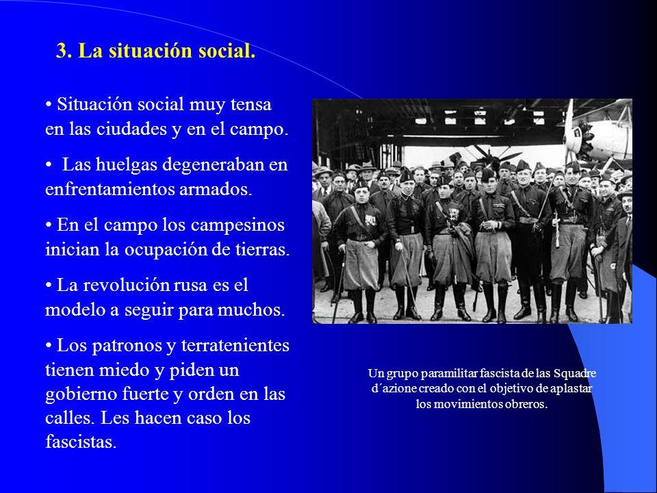 3. La situación social. Situación social muy tensa en las ciudades y en el campo. Las huelgas degeneraban en enfrentamientos armados.