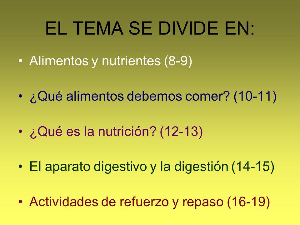 EL TEMA SE DIVIDE EN: Alimentos y nutrientes (8-9)