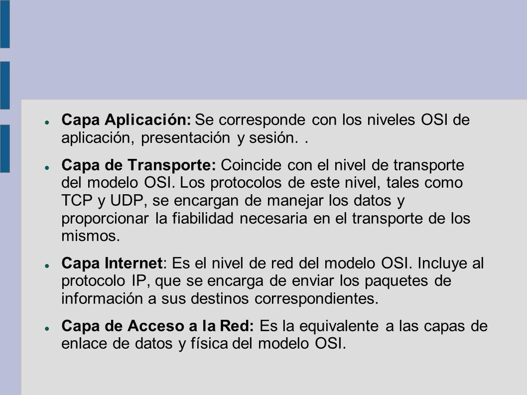 Capa Aplicación: Se corresponde con los niveles OSI de aplicación, presentación y sesión. .