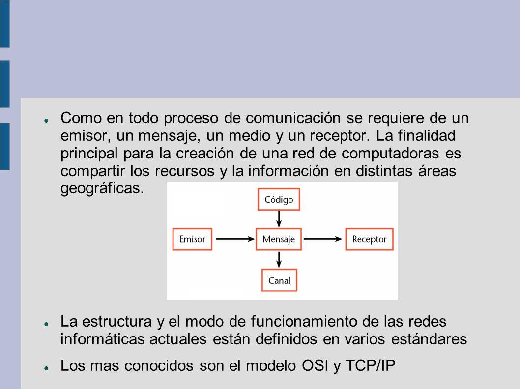Como en todo proceso de comunicación se requiere de un emisor, un mensaje, un medio y un receptor. La finalidad principal para la creación de una red de computadoras es compartir los recursos y la información en distintas áreas geográficas.