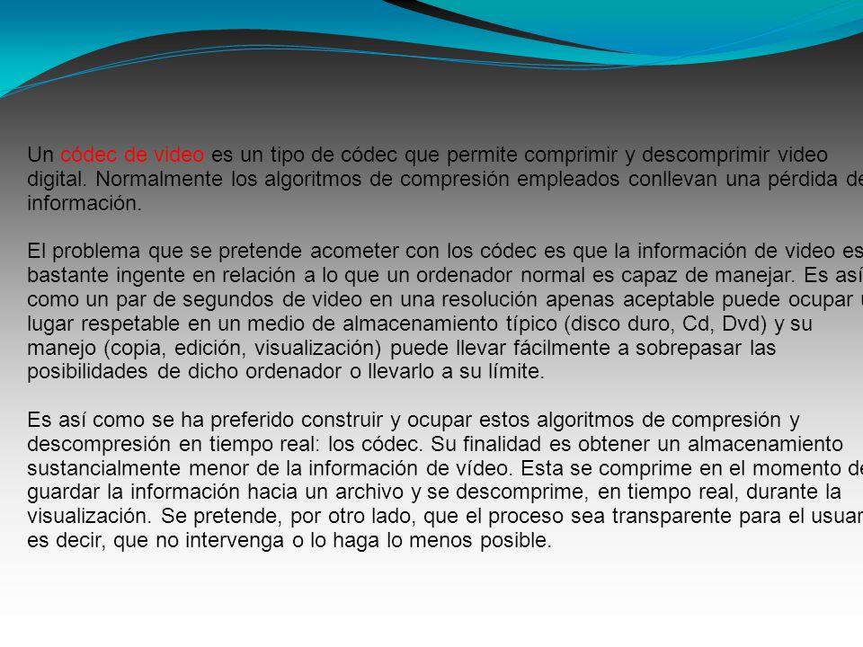 Un códec de video es un tipo de códec que permite comprimir y descomprimir video digital. Normalmente los algoritmos de compresión empleados conllevan una pérdida de información.