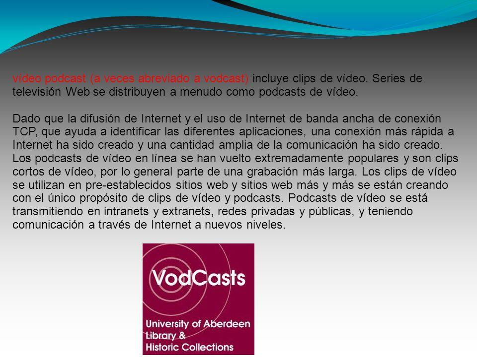 vídeo podcast (a veces abreviado a vodcast) incluye clips de vídeo