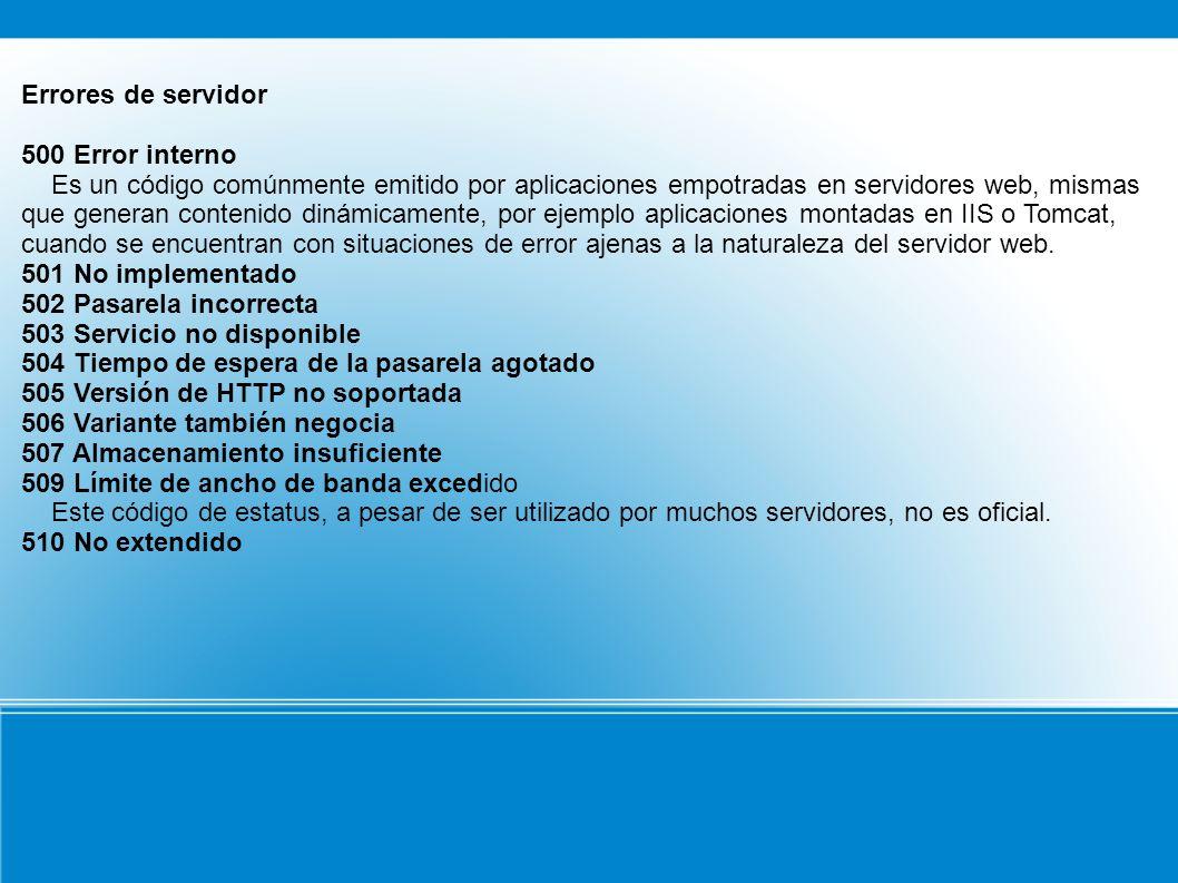 Errores de servidor 500 Error interno.
