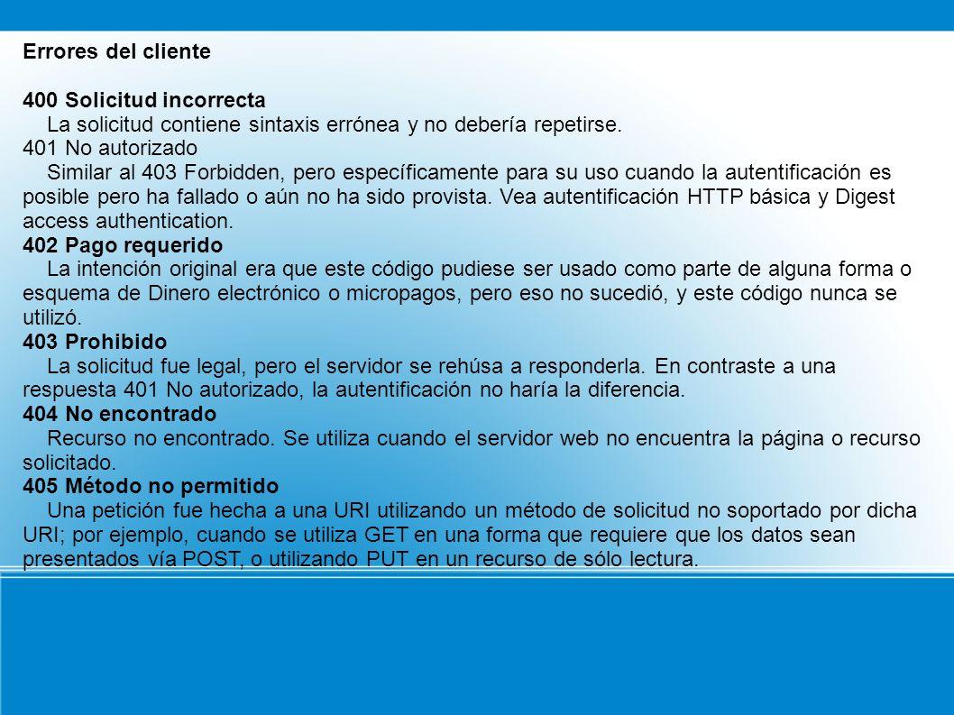 Errores del cliente 400 Solicitud incorrecta. La solicitud contiene sintaxis errónea y no debería repetirse.