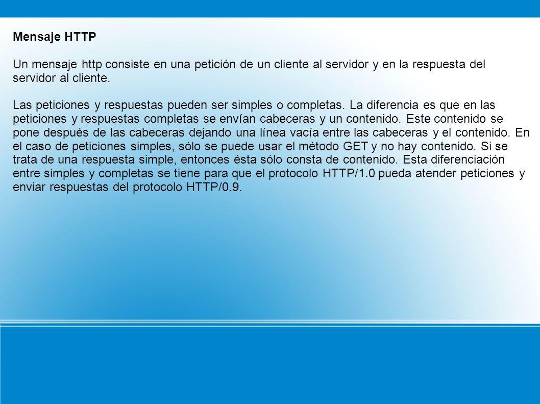 Mensaje HTTP Un mensaje http consiste en una petición de un cliente al servidor y en la respuesta del servidor al cliente.