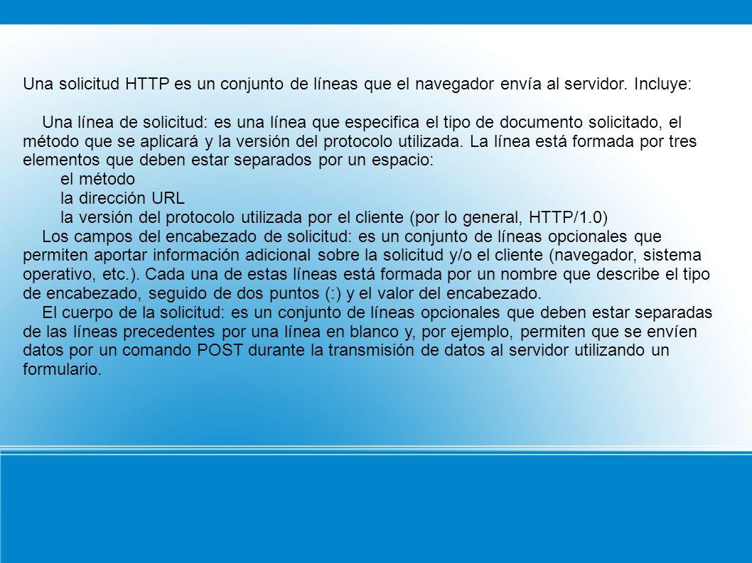 Una solicitud HTTP es un conjunto de líneas que el navegador envía al servidor. Incluye: