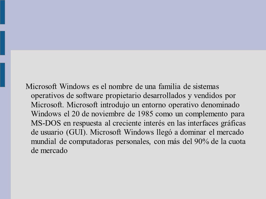 Microsoft Windows es el nombre de una familia de sistemas operativos de software propietario desarrollados y vendidos por Microsoft.