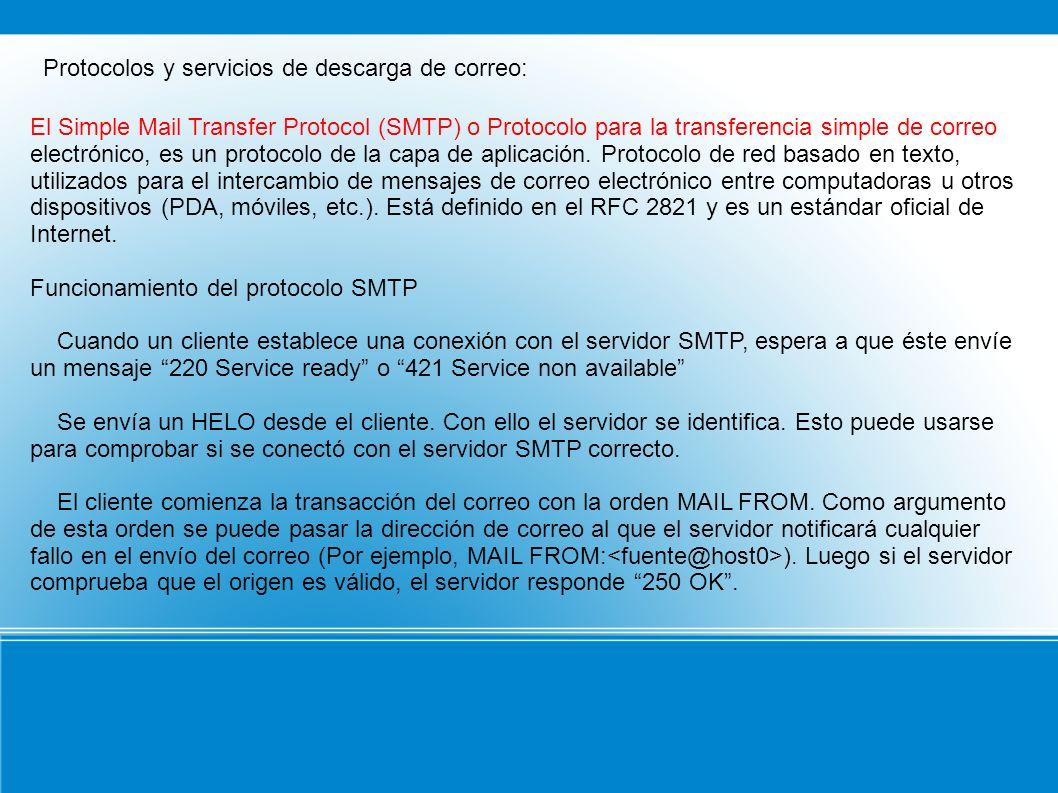 Protocolos y servicios de descarga de correo: