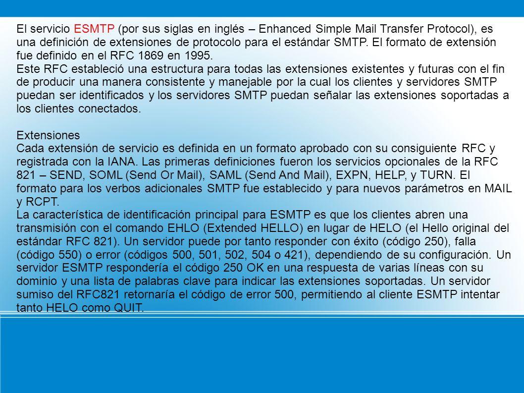 El servicio ESMTP (por sus siglas en inglés – Enhanced Simple Mail Transfer Protocol), es una definición de extensiones de protocolo para el estándar SMTP. El formato de extensión fue definido en el RFC 1869 en 1995.
