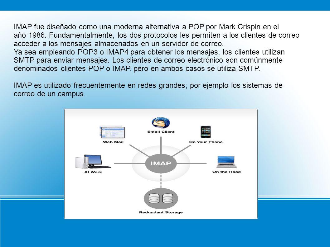IMAP fue diseñado como una moderna alternativa a POP por Mark Crispin en el