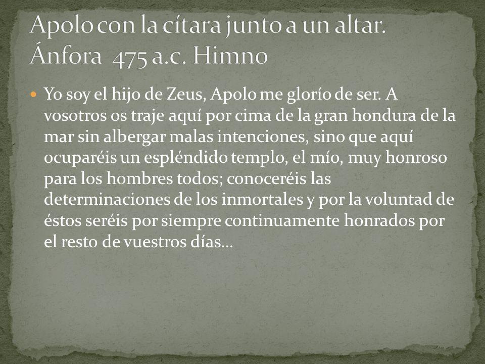 Apolo con la cítara junto a un altar. Ánfora 475 a.c. Himno