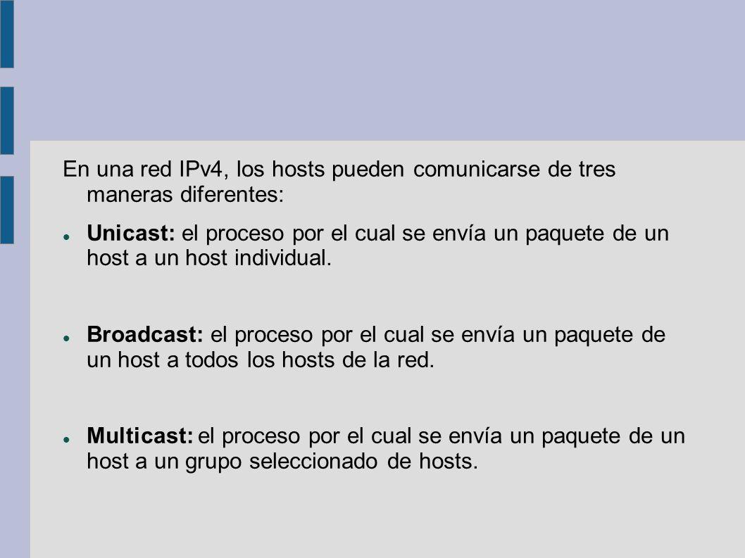 En una red IPv4, los hosts pueden comunicarse de tres maneras diferentes: