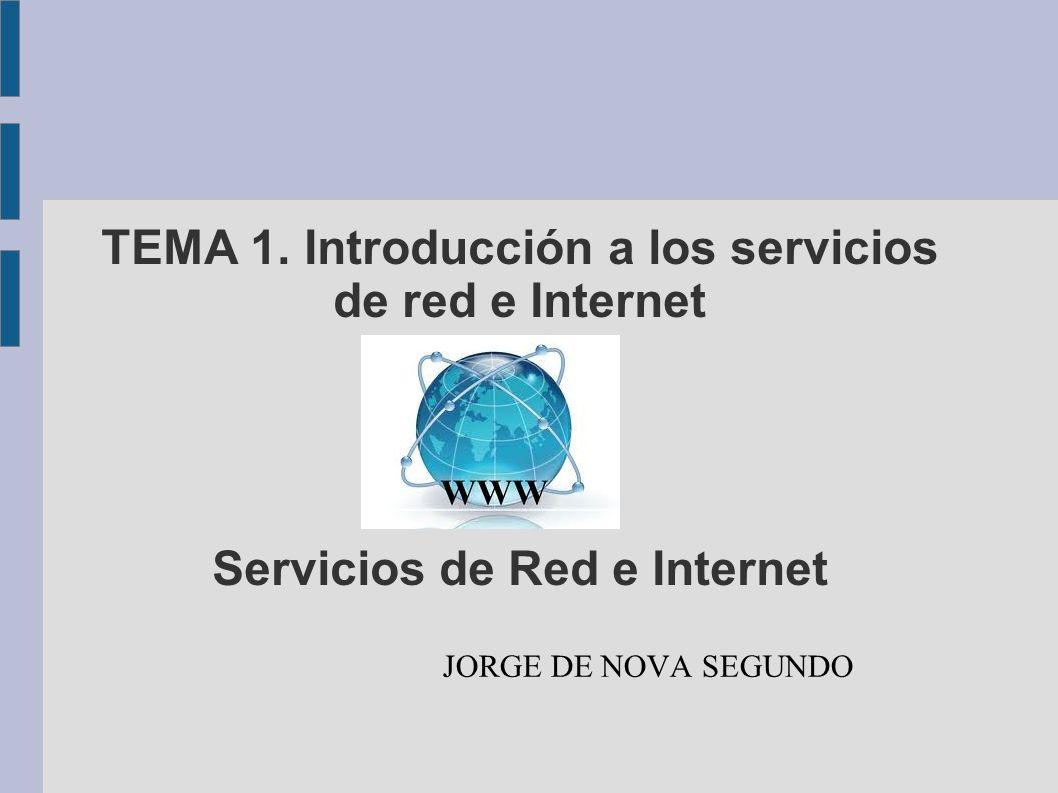 TEMA 1. Introducción a los servicios de red e Internet Servicios de Red e Internet
