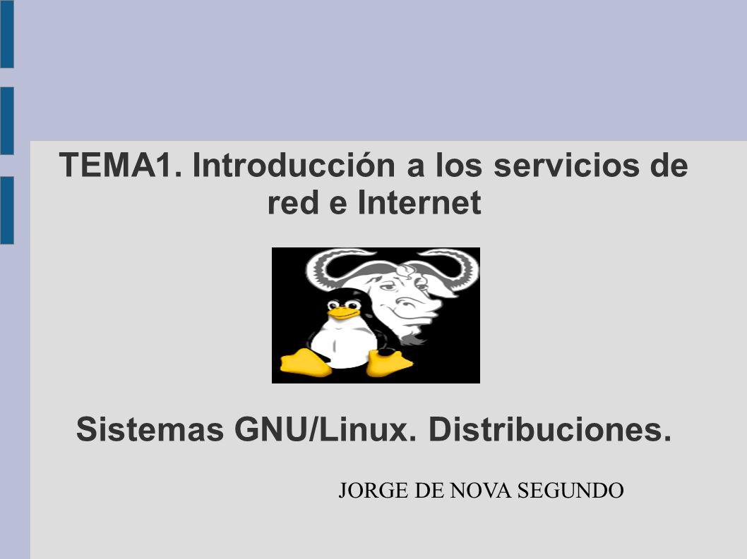 TEMA1. Introducción a los servicios de red e Internet Sistemas GNU/Linux. Distribuciones.