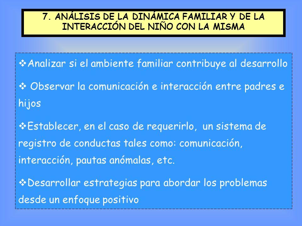 Analizar si el ambiente familiar contribuye al desarrollo