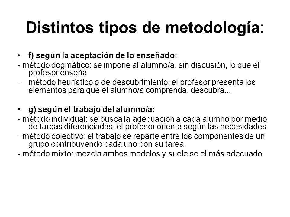 Distintos tipos de metodología: