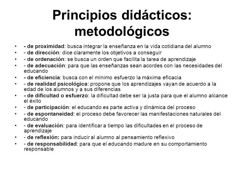 Principios didácticos: metodológicos