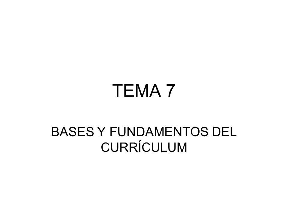 BASES Y FUNDAMENTOS DEL CURRÍCULUM