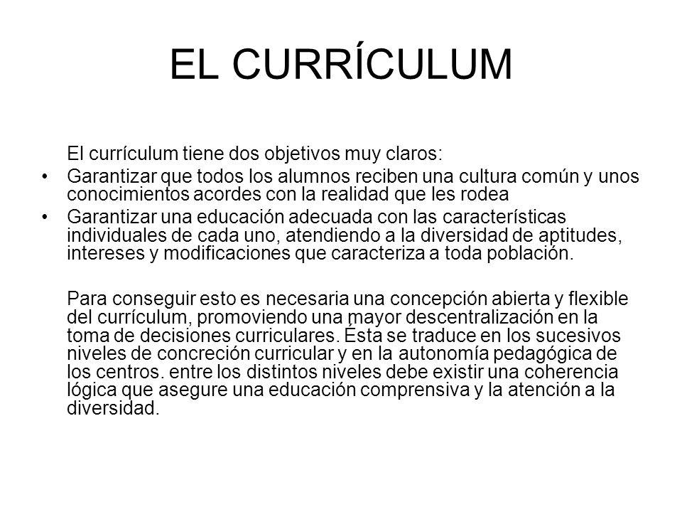 EL CURRÍCULUM El currículum tiene dos objetivos muy claros: