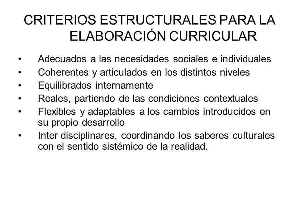 CRITERIOS ESTRUCTURALES PARA LA ELABORACIÓN CURRICULAR