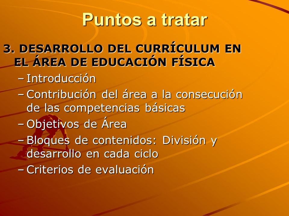 Puntos a tratar 3. DESARROLLO DEL CURRÍCULUM EN EL ÁREA DE EDUCACIÓN FÍSICA. Introducción.