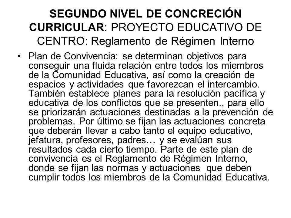 SEGUNDO NIVEL DE CONCRECIÓN CURRICULAR: PROYECTO EDUCATIVO DE CENTRO: Reglamento de Régimen Interno
