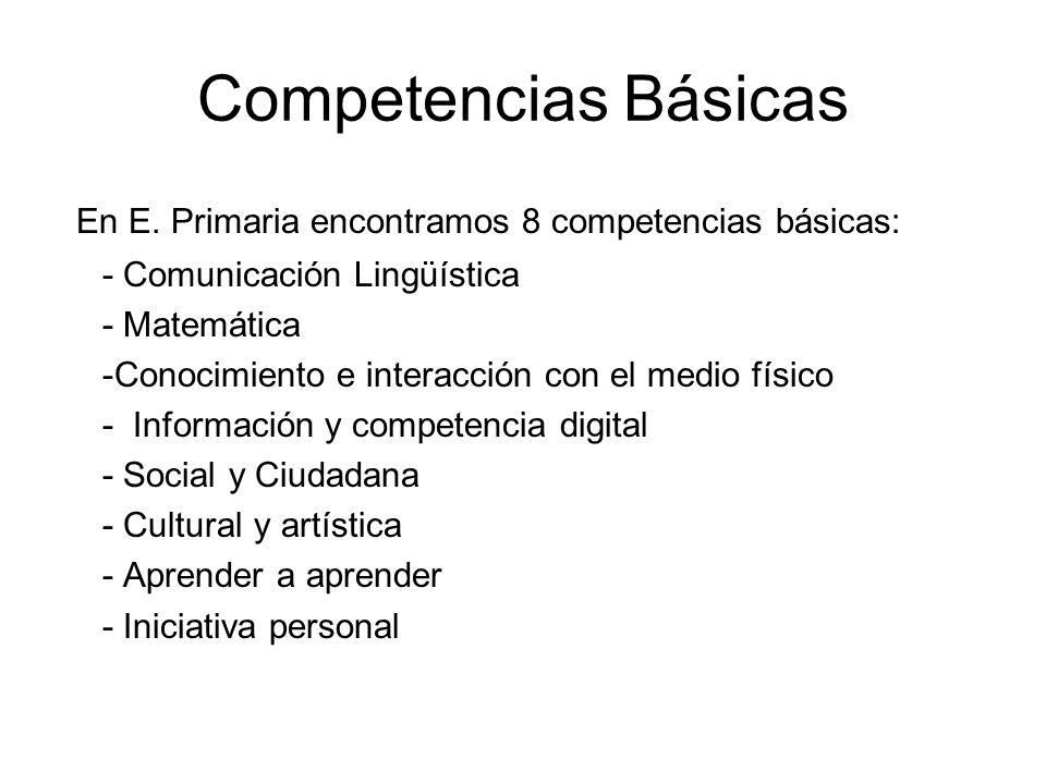 Competencias Básicas En E. Primaria encontramos 8 competencias básicas: - Comunicación Lingüística.