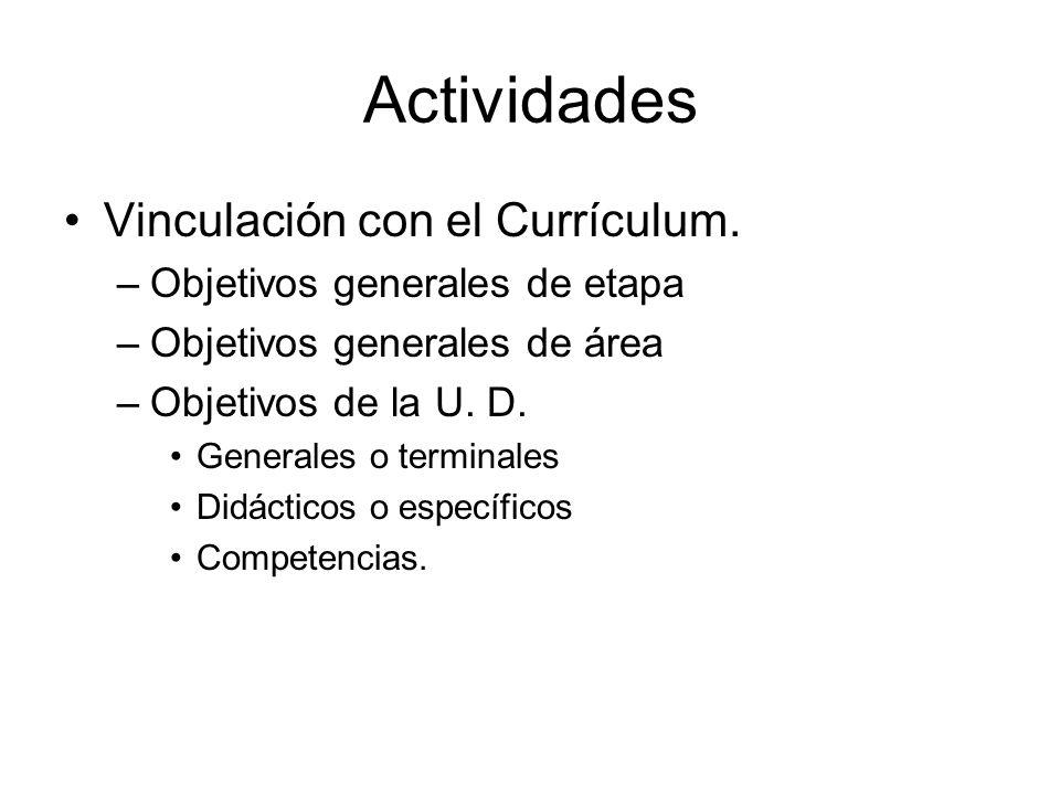 Actividades Vinculación con el Currículum.