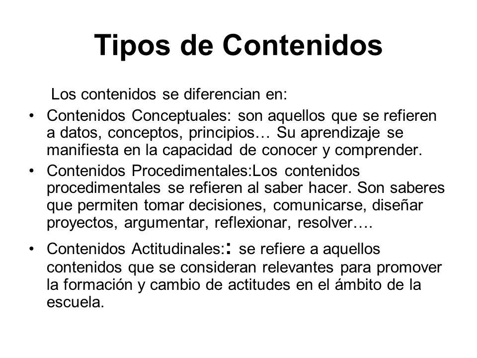 Tipos de Contenidos Los contenidos se diferencian en: