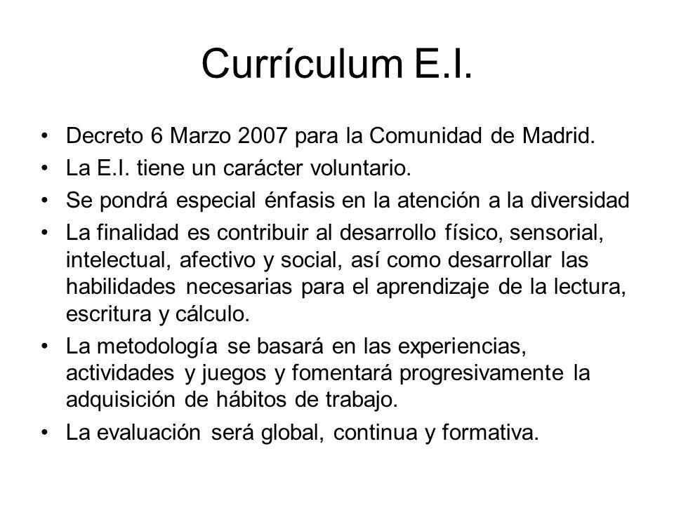 Currículum E.I. Decreto 6 Marzo 2007 para la Comunidad de Madrid.