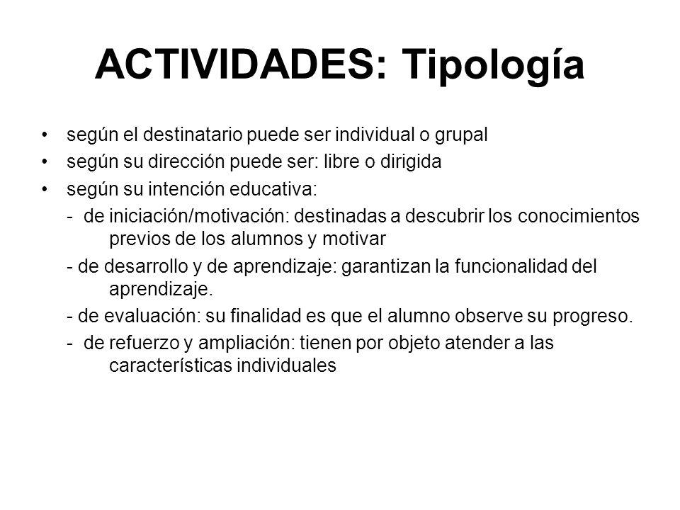 ACTIVIDADES: Tipología
