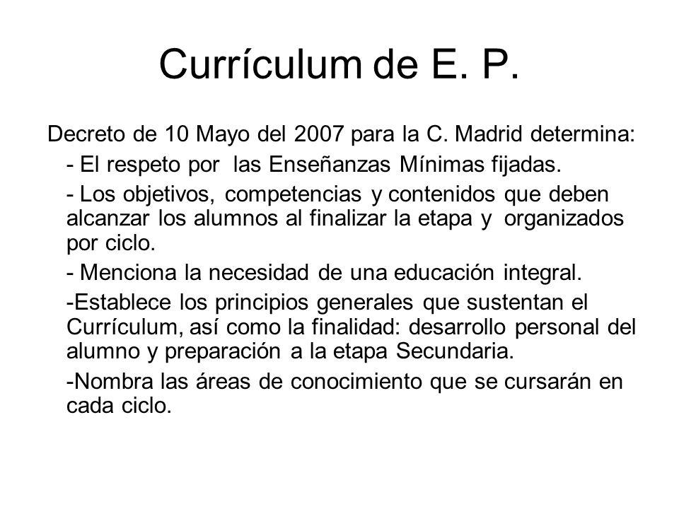 Currículum de E. P.Decreto de 10 Mayo del 2007 para la C. Madrid determina: - El respeto por las Enseñanzas Mínimas fijadas.