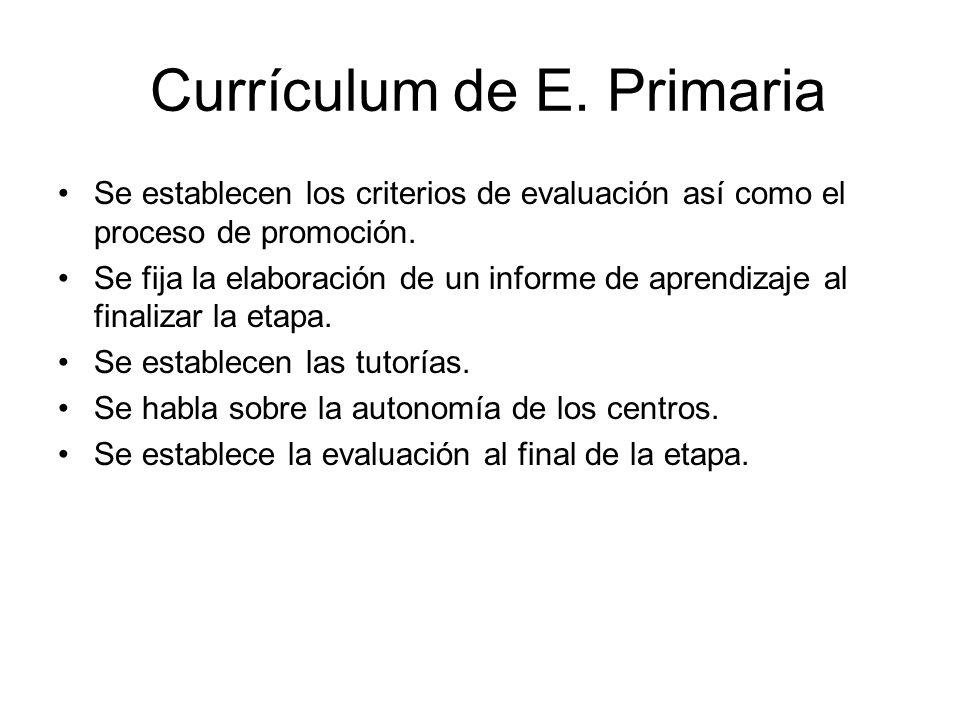 Currículum de E. Primaria