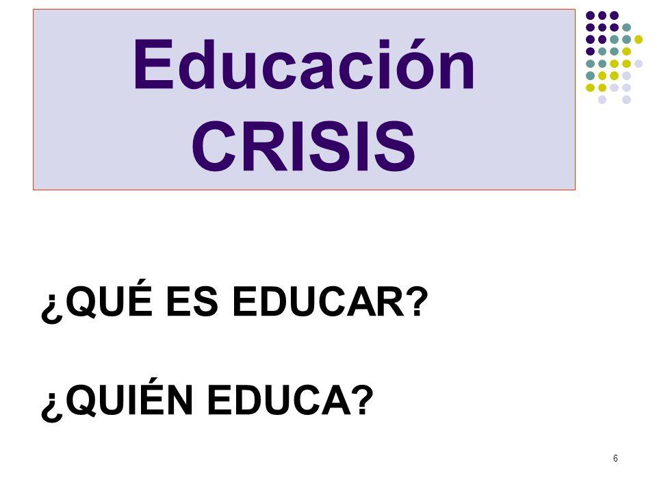 Educación CRISIS ¿QUÉ ES EDUCAR ¿QUIÉN EDUCA