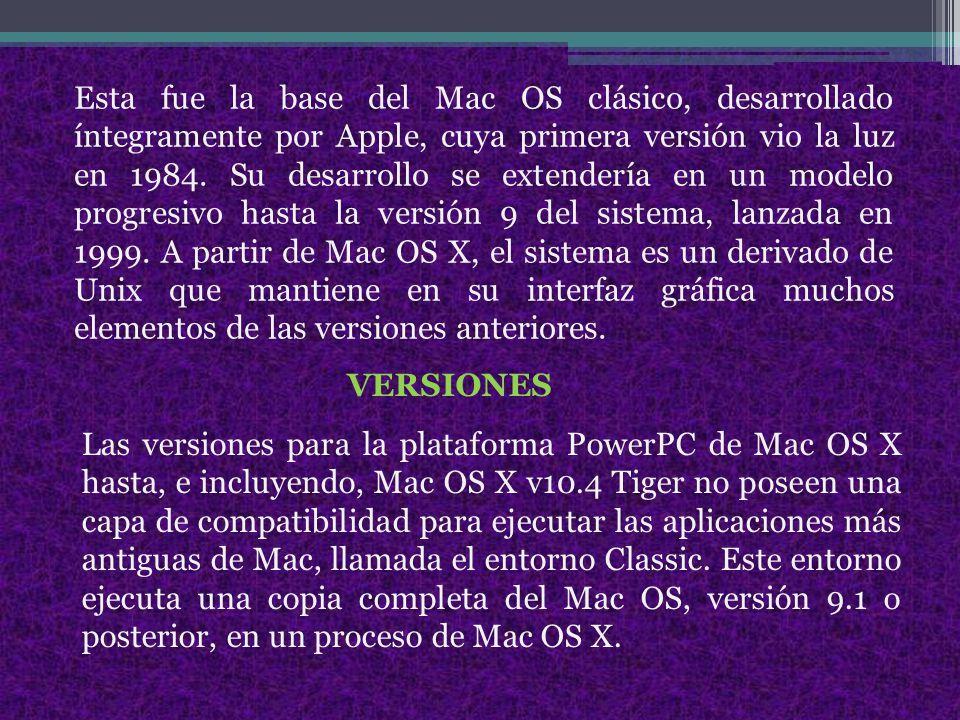 Esta fue la base del Mac OS clásico, desarrollado íntegramente por Apple, cuya primera versión vio la luz en 1984. Su desarrollo se extendería en un modelo progresivo hasta la versión 9 del sistema, lanzada en 1999. A partir de Mac OS X, el sistema es un derivado de Unix que mantiene en su interfaz gráfica muchos elementos de las versiones anteriores.