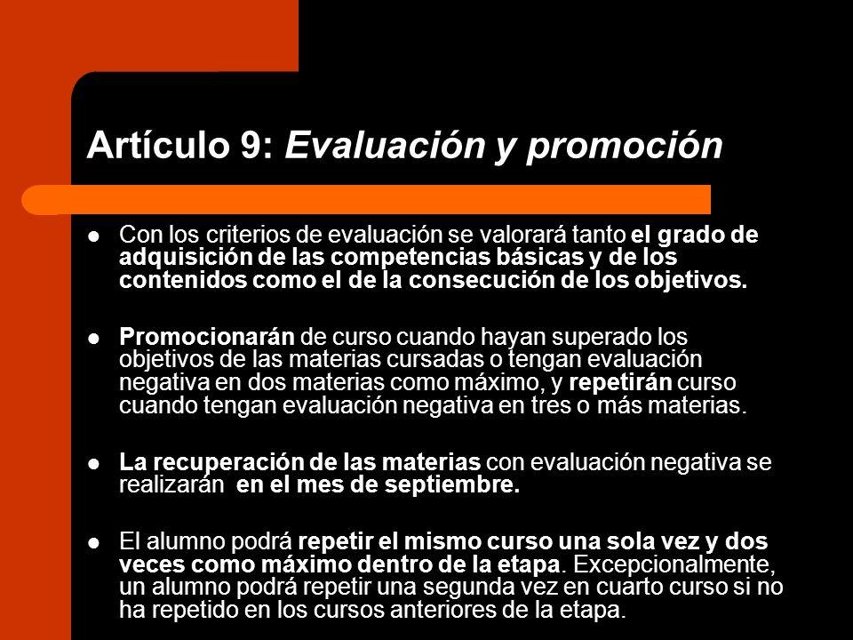Artículo 9: Evaluación y promoción