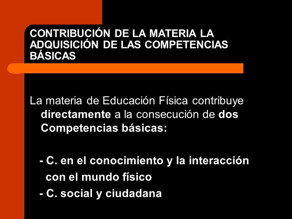 CONTRIBUCIÓN DE LA MATERIA LA ADQUISICIÓN DE LAS COMPETENCIAS BÁSICAS