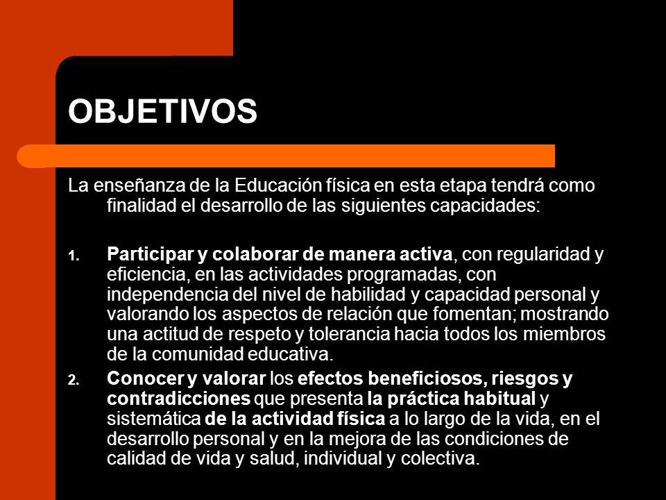 OBJETIVOS La enseñanza de la Educación física en esta etapa tendrá como finalidad el desarrollo de las siguientes capacidades: