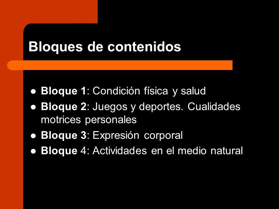 Bloques de contenidos Bloque 1: Condición física y salud