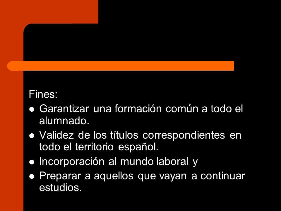 Fines: Garantizar una formación común a todo el alumnado. Validez de los títulos correspondientes en todo el territorio español.