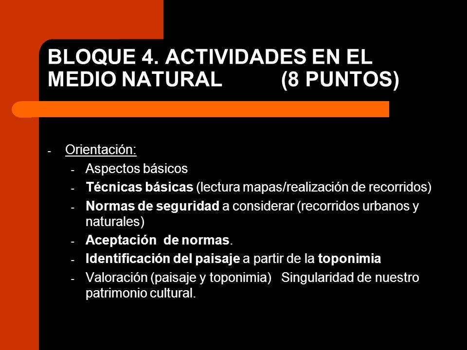 BLOQUE 4. ACTIVIDADES EN EL MEDIO NATURAL (8 PUNTOS)