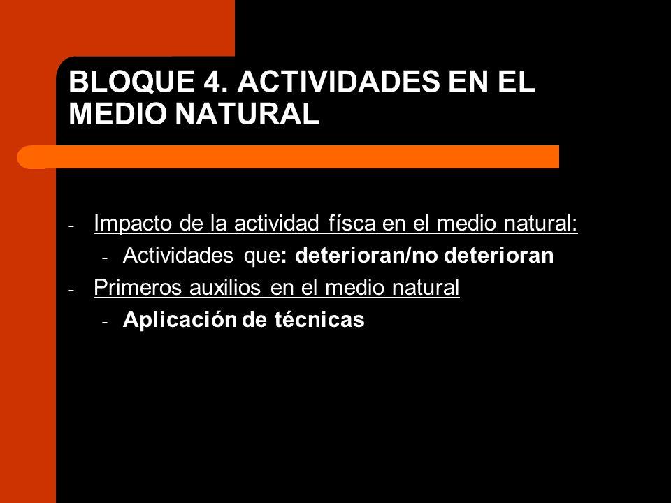 BLOQUE 4. ACTIVIDADES EN EL MEDIO NATURAL