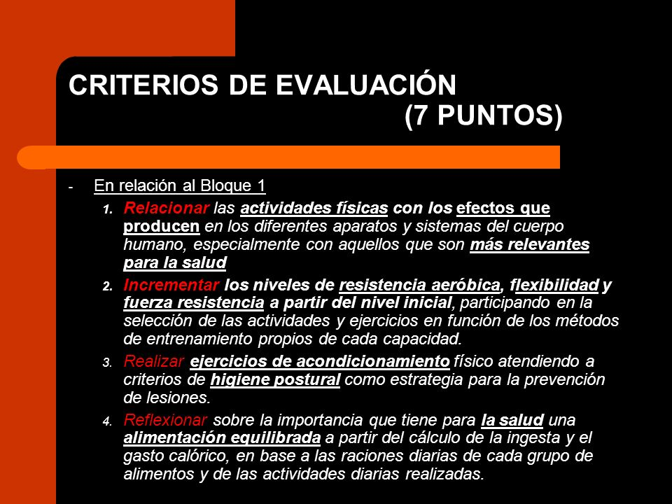 CRITERIOS DE EVALUACIÓN (7 PUNTOS)