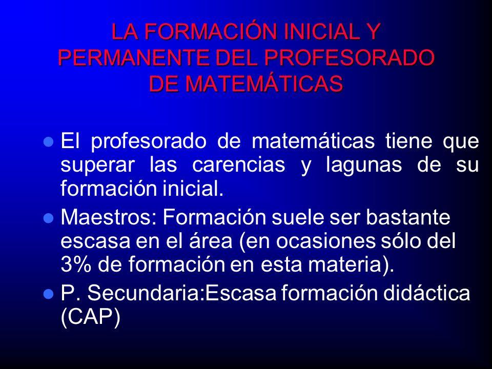 LA FORMACIÓN INICIAL Y PERMANENTE DEL PROFESORADO DE MATEMÁTICAS