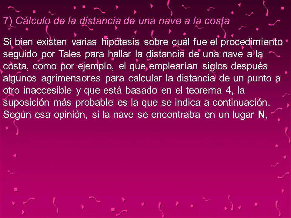 7) Cálculo de la distancia de una nave a la costa.
