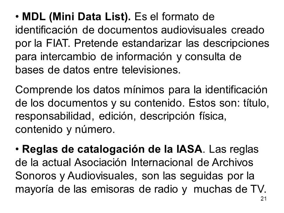 MDL (Mini Data List). Es el formato de identificación de documentos audiovisuales creado por la FIAT. Pretende estandarizar las descripciones para intercambio de información y consulta de bases de datos entre televisiones.
