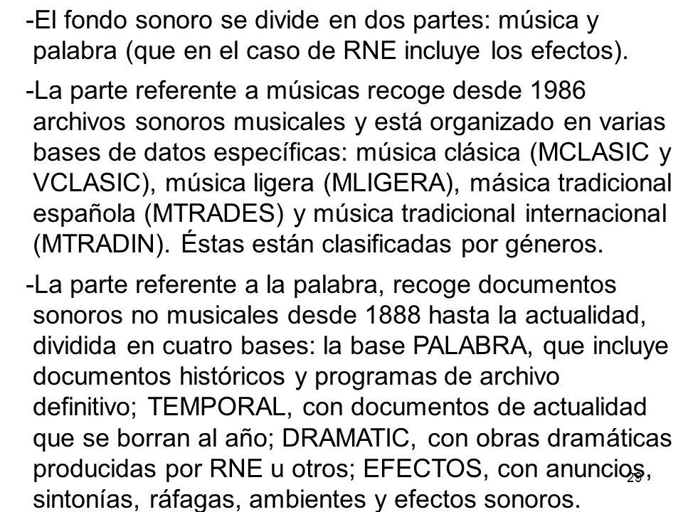 El fondo sonoro se divide en dos partes: música y palabra (que en el caso de RNE incluye los efectos).